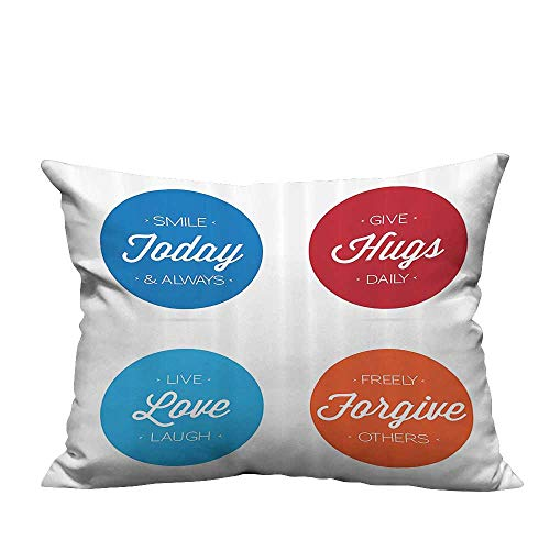 (YouXianHome Decorative Throw Pillow Case Positive Quotes Badges Encouraging Live Love Laugh Smile Ideal Decoration(Double-Sided Printing) 11x19.5)
