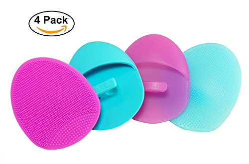 Silicone Facial Cleansing Pad Soft and Medium Set (4 pack) - Deep Cleaning Brush, Exfoliating, Massage Scrubber, For Sensitive Skin, Blackhead and Makeup Removal, Pore Cleansing and Baby Shower Scrub