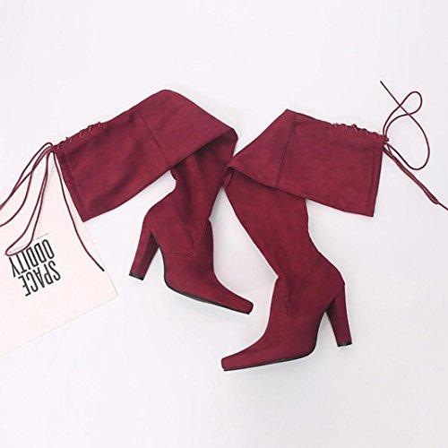 sur zahuihuiM Bottes Faux High Up Heel Slim Rouge Automne Le Chaussures Femmes Mode Stretch Genou Lace IwarIg