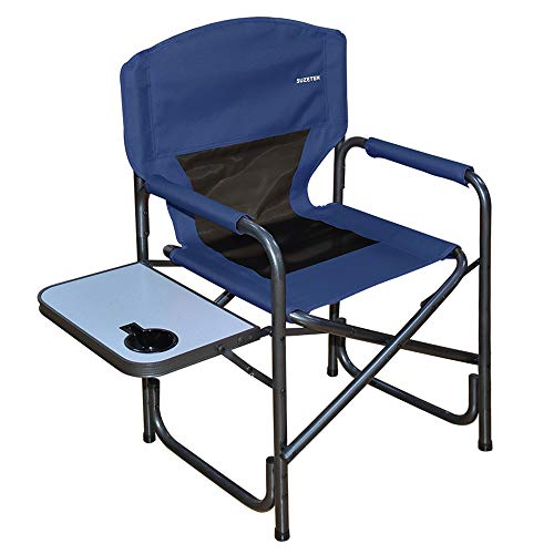 Suzeten Oversized Deck Chair Folding Camping Portable Lightweight Chair with Mesh Back Pocket, Side Table for Camping Outdoor Fishing, Supports 350 lbs, Navy Blue