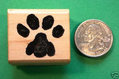 (Cat Paw Rubber Stamp, Regular Size, Wood Mounted)