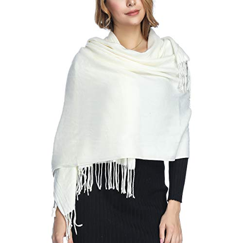 Extra Large Thick Soft Cashmere Wool Shawl Wraps for Women - PoilTreeWing Pashmina Scarf(White)