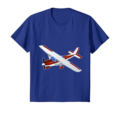 Price comparison product image Kids Airplane T-Shirt - Propeller Plane Aeroplane Kids Cool Tee 4 Royal Blue