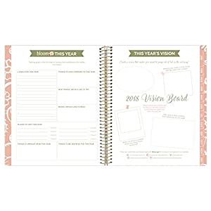 "bloom daily planners 2018 Calendar Year Soft Cover Vision Planner - Monthly/Weekly Datebook Agenda Organizer- January 2018 - December 2018 - (7.5"" x 9"") - Bloom Where You Are Planted"