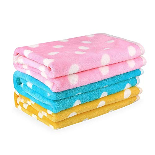 Pet Dog Blanket - Cat Puppy Blanket Soft Warm Sleep Mat - for Couch,Car, Bed - Dog Cat and Other Small Animals - 3 Pack