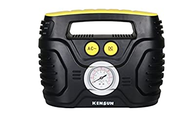 Kensun AC/DC Swift Performance Portable Air Compressor Tire Inflator with Analog Display for Home (110V) and Car (12V) - 18/20 litres/Min from Kensun