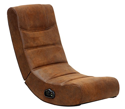 X-Rocker 2.0 Audio Gaming Chair in Distressed Brown Suede