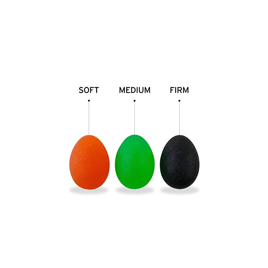 The Friendly Swede Hand Grip Strengthening Stress Relief Therapy Squishy Balls Set of 3 Finger Resistance Exercise Squeeze Eggs