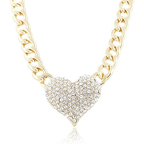 Heart-Shaped Pendant Necklace Laimeng Ladies 3D Heart Pendant with a 16 Inch Adjustable Link Chain Necklace (Gold) 3d Diamond Pendant Necklace