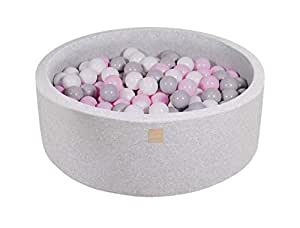 MEOWBABY Foam Ball Pit 35 x 11.5 in /200 Balls Included ∅ 2.75in Round Ball Pool for Baby Kids Soft Round Ball Pool Children Toddler Playpen Made in EU Light Grey: Pastel Pink/Grey/White