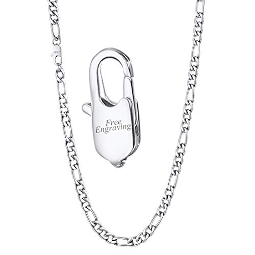 U7 Men Women 5mm Stainless Steel 3:1 Italian Made Figaro Chain Necklace 18 Inch, with Custom Engraving on Clasp ()