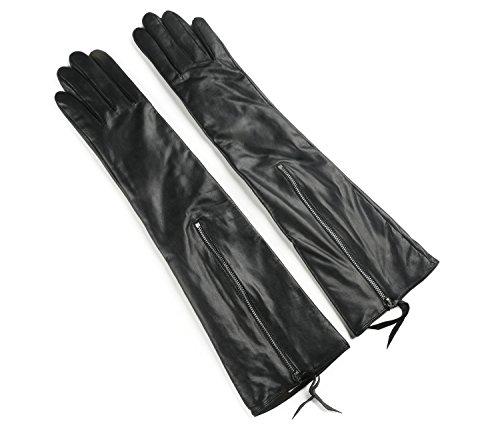 Ambesi Women's Touchscreen Opera Long Lambskin Leather Winter Gloves Black (Lambskin Leather Long Gloves)