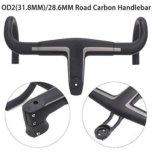 EC90 2019 New T800 Carbon Bike Handlebar 28.6mm/31.8mm Integrated Drop Bar Road Bicycle Handlebar Matt Black OD2 Stem (90, 390MM) (Best Carbon Road Bike 2019)