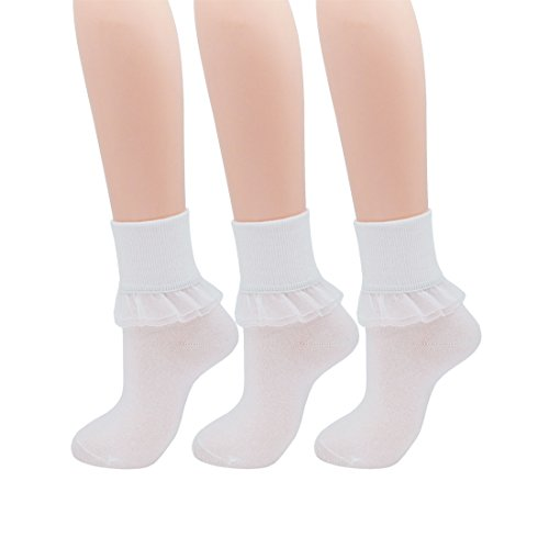 SRYL Women Lace Ruffle Frilly Ankle Socks Fashion Ladies Girl Princess YYS09 (white) ()