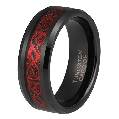 (iTungsten 8mm Black Plated Womens Mens Wedding Bands Tungsten Carbide Rings Red Dragon Black Carbon Fiber Inlay Comfort Fit)