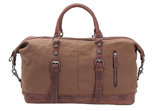 Oversized Leather Canvas Duffel Tote Weekender Travel Shoulder Handbag Gift Idea (Large, Brown)