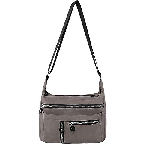 Zbeibei Women's Nylon Shoulder Bags Crossbody Messenger Bags Casual Travel Handbag (Dark Beige)