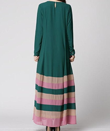Islamic Spell Top Oversized Color Beach Women Dress Green Stripe Blackish Maxi Coolred UIxwtCn