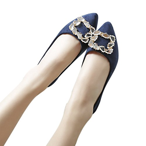 Flat Slip Ballet Rhinestone Leather QZUnique Boat Blue PU Shoes On Pointed Toe Women's W1q1wRvU