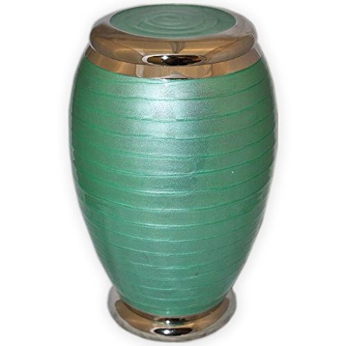 Beautiful Life Urns Celebration Spring Green Adult Cremation Urn – Funeral Urn with Stunning Green Enamel Finish Large