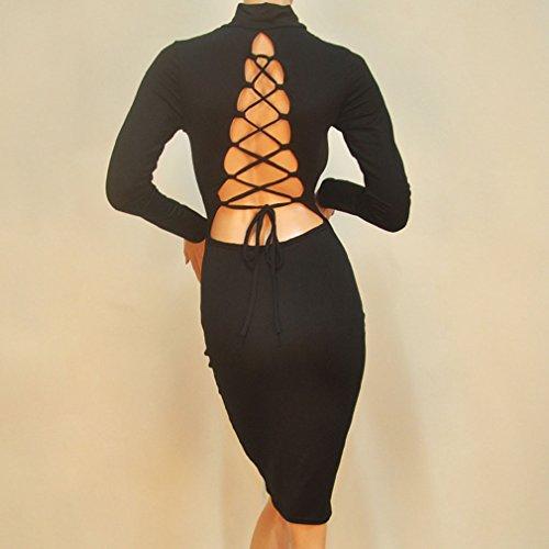 Honghu Vestido para Mujer Mangas Larga Del Partido Del Club Dress Negro