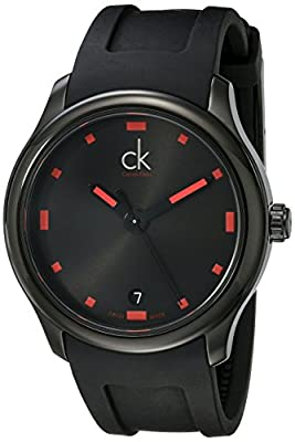 Calvin Klein Men's K2V214DZ 'Visible' Black/Red Dial Black Rubber Strap Swiss Quartz Watch