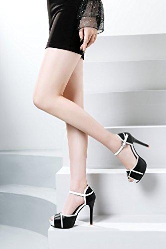 ZHUDJ Das Wort_Word Schnalle Schnalle Sandalette Im Frühjahr Und Sommer Weiblich Super Fine Mit High-Heeled Club Fisch Mund Schuhe Schuhe Thirty-four