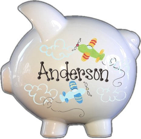 Hand Painted Personalized Jumbo Piggy Bank - Airplanes Design - Airplane Piggy Bank For Boys
