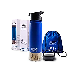 Urban Hydrofit 22 oz Stainless Steel Sports Water Bottle Insulated Travel Mug Keeps Drinks Cold 24 Hours or Hot 18 Hours plus 2 Lids and Sack