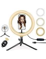 OneAmg Led-ringlamp met statief, 26 cm, selfie-ringlamp met statief, ringlicht met afstandsbediening, 3 kleuren en 10 helderheidsniveaus voor YouTube-video-opname, make-up, live(3 kleuren)