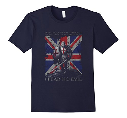 Mens UK Flag Shirt The Crusader I FEAR NO EVIL  SHIRT Medium Navy