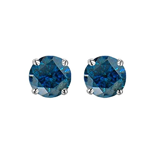 0.50 Carat (ctw) Sterling Silver Round Cut Blue Diamond Ladies Stud Earrings 1/2 CT by DazzlingRock Collection