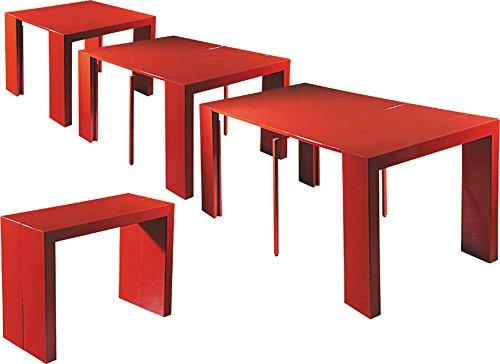 Tavolo Rosso Legno.Eglemtek Tavolo Legno Consolle Allungabile Fino A 3mt Colore Rosso Lucido Laccato Tm