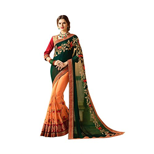 Bottle Green & Peach Color Bollywood Saree Sari With Latest Stylish Pattern On Blouse Just Launched Women Wedding Ceremony Party Wear Diwali Festive By Ethnic Emporium 526 by ETHNIC EMPORIUM