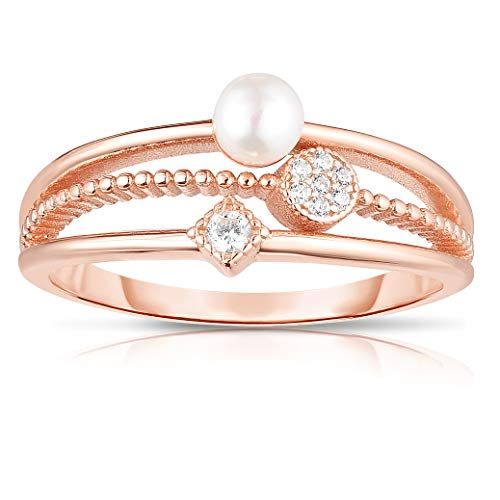 Unique Royal Jewelry All Solid 925 Sterling Silver Fresh Water Pearl and Cubic Zirconia Tapered 3-Shank Designer Ring. (14K Rose Gold Plated-Size 8)