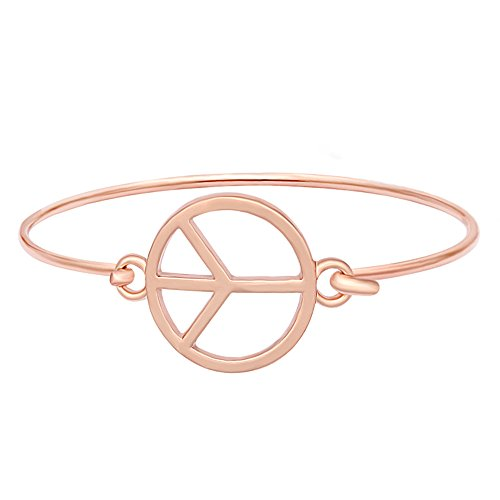 MANZHEN Gold Silver Peace Love Sign Symbol Openable Hook Bangle Bracelet Cuff Jewelry (Rose Gold) ()