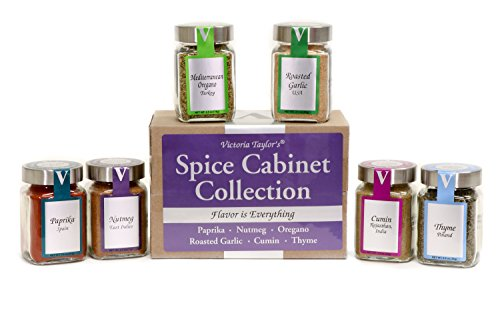 Spice Cabinet Collection - PAPRIKA, ROASTED GARLIC, NUTMEG, CUMIN, MEDITERRANEAN OREGANO, AND THYME. Refresh your spice cabinet with premium seasonings! VICTORIA TAYLOR'S BY VICTORIA ()
