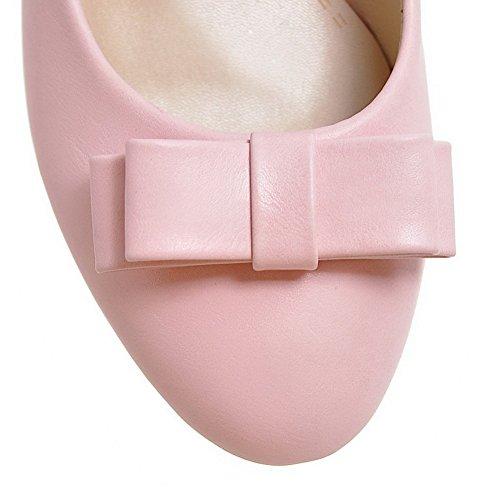 AllhqFashion Damen Rein PU Leder Niedriger Absatz Rund Zehe auf Pumps Schuhe Pink