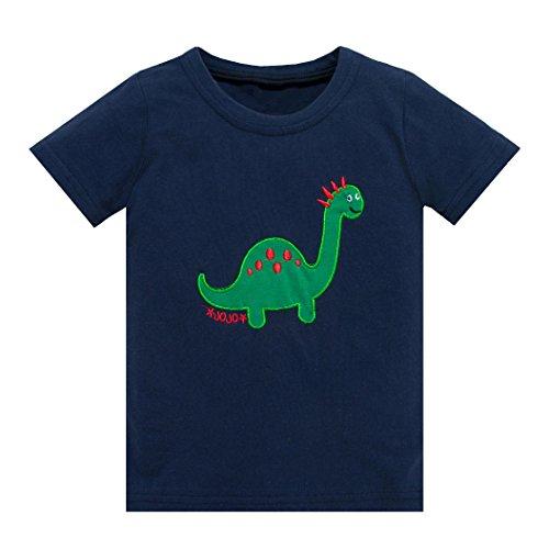 Huata Little Boys Short Sleeve Crew Neck T-Shirt Tops Tee (3T, Blue)