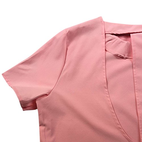 Cotton Causal Dress Elastic Dress Wedding Sleeve Shirt Short T Party Women Prom Pink Short Daxin Mini wHAaIqI