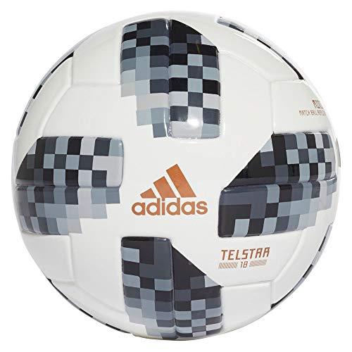Adidas Balón Mini Telstar, Mundial de Futbol Rusia 2018, Color Blanco/Negro/Plata, tamaño 1.