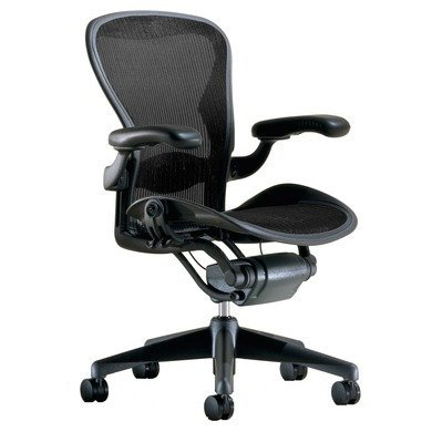 Herman Miller Aeron Task Chair: Highly Adjustable w/Lumbar Support Pad - Fully Adjustable Vinyl Arms - Tilt Limiter - Standard Carpet Casters - Graphite Frame/True Black Pellicle