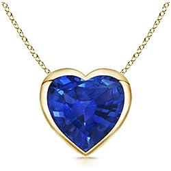 Bezel Set Solitaire Heart Shaped Blue Sapphire Pendant Necklace for Women