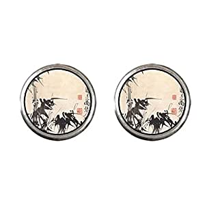 Chicforest Silver Plated Art of Chinese Bamboo Painting Photo Stud Earrings 10mm Diameter