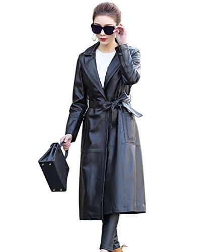 Genuine Womens Trench Coat (Jsix Women's Lambskin Leather Walking Coat Long/Trench Coat Overcoat Jacket (XL))