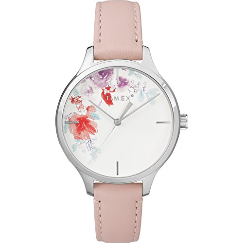 Timex Women's TW2R82200 Crystal Bloom Pink/White Floral Accent Leather Strap Watch