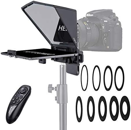 Desview T2 Teleprompter Kit Con Control Remoto, 8 Tallas Anillo Adaptador de Lupa, Para Smartphone/ Tableta/ DSLR Cámara de Vídeo Reproducción Entrevista Presentación