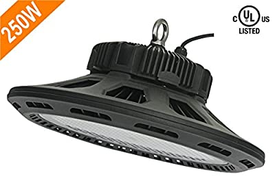 CY LED 250W UFO LED High Bay Lighting, UL Listed, 400W HPS/MH Bulbs Equivalent, 28500lm, Waterproof, Cool White, 6000K, 120 Degree Beam, Super Bright Commercial Lighting, LED High Bay Lights