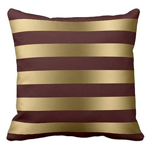 GOOESING Modern Gold Stripes Burgundy Red Background Throw Pillowcase Pillow Shams Case Cushion Cover
