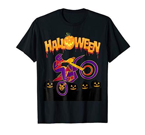 Motocross Bike Jump Over Pumpkin -Halloween T-Shirt -